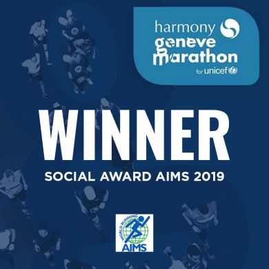 HARMONY GENEVA MARATHON FOR UNICEF AWARDED THE AIMS SOCIAL AWARD FOR 2019